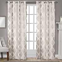Off White Metallic Curtain Panel Set, 108 in.