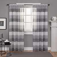 Gray Bern Sheer Stripe Curtain Panel Set, 108 in.