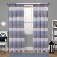 Indigo Bern Sheer Stripe Curtain Panel Set, 108 in