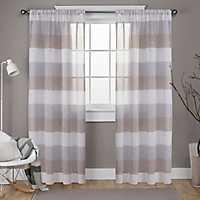 Cafe Bern Sheer Stripe Curtain Panel Set, 108 in.
