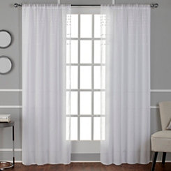 White Davos Pom Sheer Curtain Panel Set, 96 in.