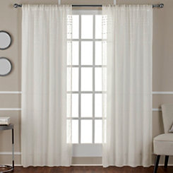 Ivory Davos Pom Sheer Curtain Panel Set, 96 in.
