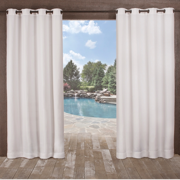 High Quality White Delano Outdoor Curtain Panel Set, 84 In.