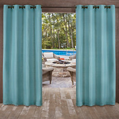 Teal Delano Outdoor Curtain Panel Set 84 In