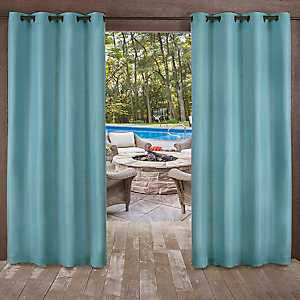 Teal Delano Outdoor Curtain Panel Set, 96 in.