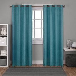 Oxford Teal Thermal Curtain Panel Set, 96 in.