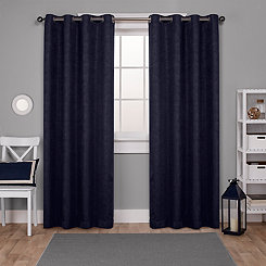 Oxford Navy Thermal Curtain Panel Set, 108 in.