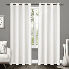 White Tweed Curtain Panel Set, 84 in.