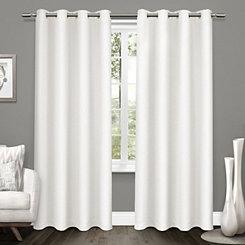 White Tweed Curtain Panel Set, 84 in.