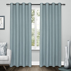Turquoise Tweed Curtain Panel Set, 84 in.