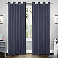 Blue Tweed Curtain Panel Set, 84 in.