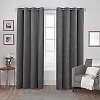 Gray Heavyweight Velvet Curtain Panel Set, 84 in.