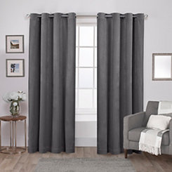 Gray Heavyweight Velvet Curtain Panel Set, 96 in.