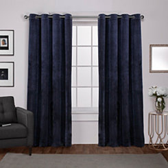 Navy Heavyweight Velvet Curtain Panel Set, 96 in.