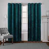 Teal Heavyweight Velvet Curtain Panel Set, 96 in.