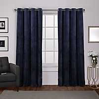 Navy Heavyweight Velvet Curtain Panel Set, 108 in.