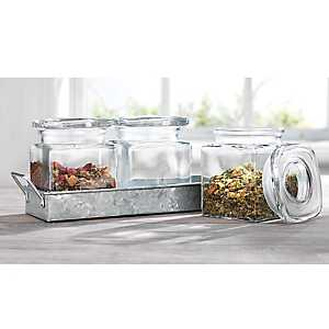 Square Glass 3-pc. Canister Galvanized Tray