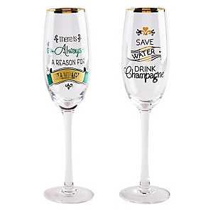 Gold Rimmed Novelty Champagne Flutes, Set of 2