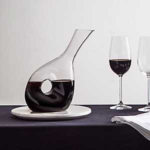 Tilted Clear Glass Wine Decanter