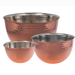 Hammered Copper and Steel Mixing Bowls, Set of 3