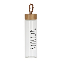 Rae Dunn Refresh Glass Tumbler with Bamboo Lid