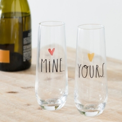 Rae Dunn Yours and Mine Stemless Flutes, Set of 2