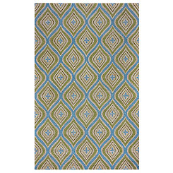 Blue and Green Layered Trellis Area Rug, 5x8