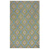 Blue and Green Layered Trellis Area Rug, 8x10
