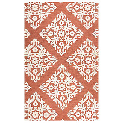 Rust Damask Area Rug, 5x8