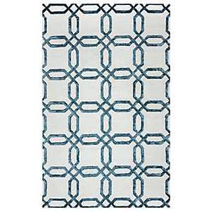 Blue Geometric Lattice Area Rug, 5x8