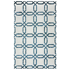 Blue Geometric Lattice Area Rug, 5x8