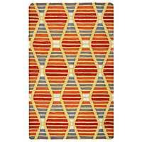 Orange Diamond Stripe Area Rug, 5x8