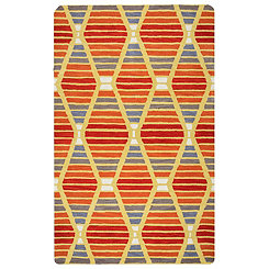 Orange Diamond Stripe Area Rug, 5x8