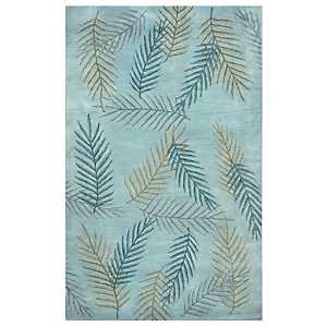 Blue Leaf Area Rug, 5x8
