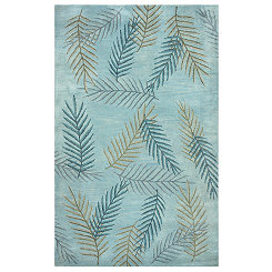 Blue Leaf Area Rug, 5x8