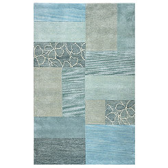 Blue Patchwork Area Rug, 5x8