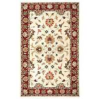 Red Floral Border Area Rug, 5x8