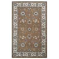 Brown Floral Border Area Rug, 8x10
