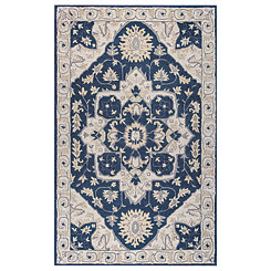 Navy Central Medallion Area Rug, 5x8