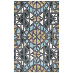 Gray Geometric Kaleidoscope Area Rug, 8x10