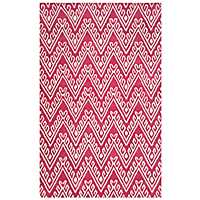 Red Floral Chevron Area Rug, 5x8