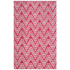 Red Floral Chevron Area Rug, 8x10