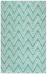Turquoise Floral Chevron Area Rug, 5x8
