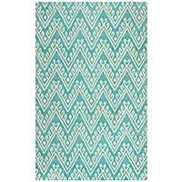 Turquoise Floral Chevron Area Rug, 8x10