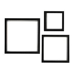 Black Cube Wooden Shelves, Set of 3