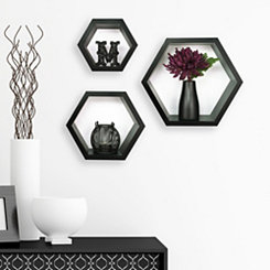 Black Hexagon Wooden Shelves, Set of 3