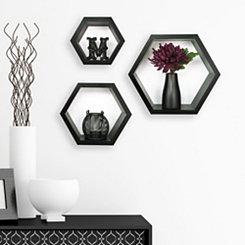 Black Hexagon Wooden Shelves, Set of 3
