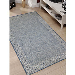 Navy Clyde Geometric Border Area Rug, 5x8