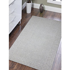 Silver Clyde Geometric Border Area Rug, 8x11