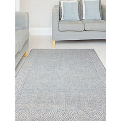 Aqua Clyde Geometric Border Area Rug, 8x11